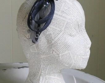 Navy and Crystal Fascinator Headband, Whimsy, Church Hat