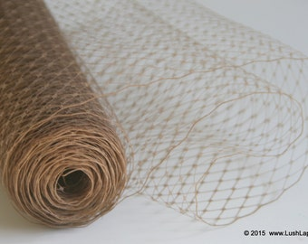 Latte Millinary Netting - Light Brown Russian or French Net Birdcage Material, Half or Full One Yard