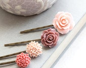 Pink Flower Bobby Pins Dusty Rose Mauve Floral Hair Accessories Coral Chrysanthemum Hair Pin Dahlia Hair Clips Bridesmaids Gift Set of Four