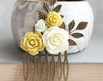 Bridal Hair Comb Mustard Yellow Flowers for Hair Branch Hair Accessory Ivory Cream Rose Comb Country Wedding Hair Piece Bridesmaids Gift
