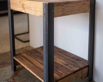 Pallet Wood Side Table with Metal Legs and Lower Shelf