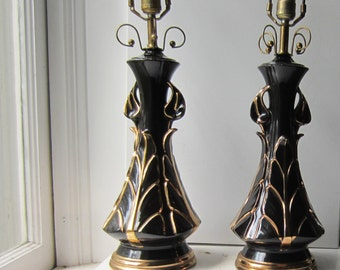 Pair Vintage Black and Gold Ceramic Lamps with Calla Lilies - Working - No Chips - 1940's