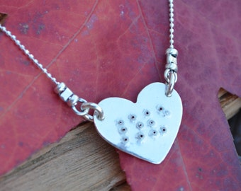 Love  in Braille on  Heart Charm Necklace - Great Gift of Love - Sterling Silver -Anniversary,Wife, Girlfriend, Birthdays, Christmas Gift