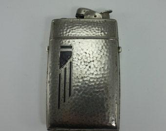 Vintage Art Deco Lighter Cigarette Case Metal Evans