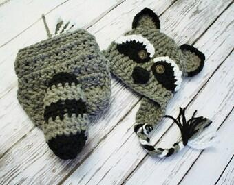Raccoon Costume - Raccoon Hat and Cover - Halloween Raccoon Costume - Baby Raccoon - Photography Prop - Halloween Costume - JoJo's Bootique