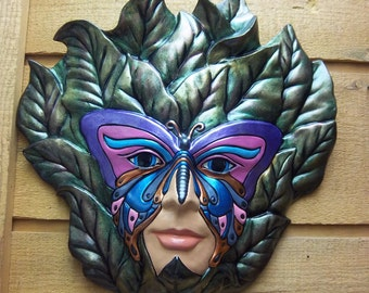 Ceramic Butterfly Mask for your wall decor, Hand crafted.
