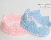 Newborn Crochet Crown, Pink Crown, Blue Crown, Baby Crown, Newborn Photo Prop, Boy Crown, Girl Crown, Baby Shower Gift, Baby Photo Prop