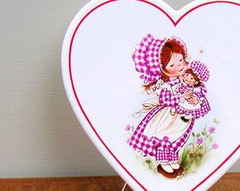Vintage Heart Trivet Tile Wall Decor Girl With Doll