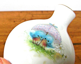 Spring Shower Bluebirds Porcelain Vase