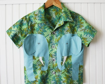 Boy's Summer Shirt, Cotton Elephant Shirt, Safari Shirt, Blue and Green Print Handmade Shirt