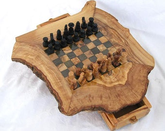 Rustic Olive Wood chess board with wooden set
