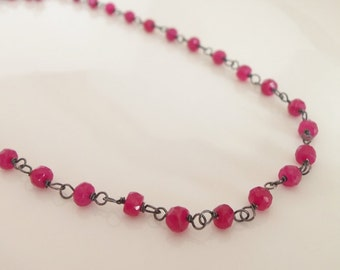 Ruby Gemstone Necklace Wire Wrapped with Oxidized Sterling Silver Jewelry