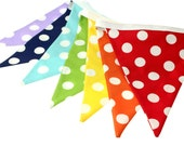 Rainbow Polka Dot Fabric Pennant Bunting Banner  - great for birthday party decor, nursery, playroom, photo prop