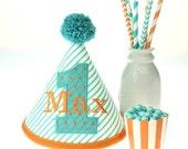 Orange and Teal Stripes & Argyle Fabric Birthday Hat