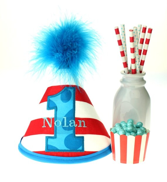 Dr Seuss Red Stripe Fabric Cake Smash Birthday Hat