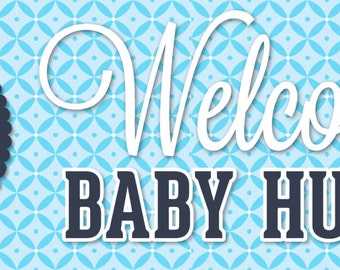 """Personalized Baby Shower Banner - It's a Boy - Large 30"""" x 60"""" Satin Paper or Banner"""