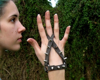 Spiked Leather Glove Hand Harness