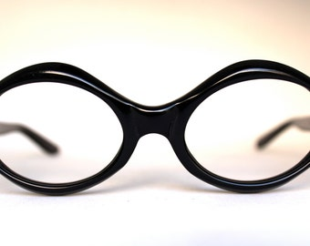 Vintage 60's NOS Psychedelic Mod Adensco Majorca Eyeglass Frames Black Diamond Oval - FREE Domestic Shipping