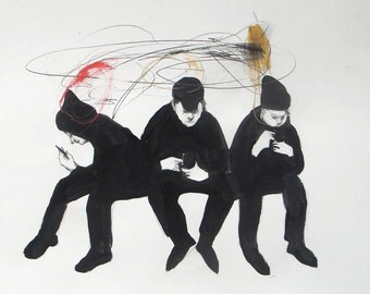 people Cell original illustration print art figurative phone three men