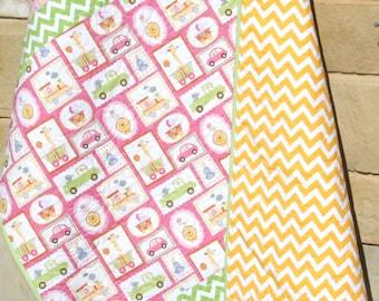 Baby Quilt, Girl, Giraffe Train Money Cars, Pink Yellow Green, Infant, Crib Bedding, Nursery Decor, Baby Blanket, Dena Designs Happi