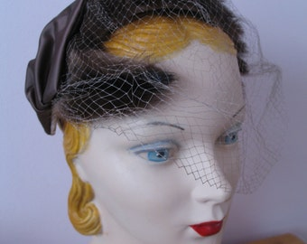1940'S Mink Fur Bandeau Hat, Bird Cage Veil
