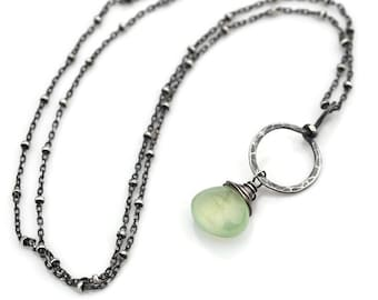 Prehnite Pendant Necklace, Oxidized Silver Circle Pendant, Green Prehnite Necklace