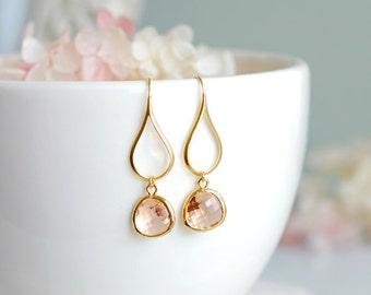 Peach Champagne Dangle Earrings, Glass Drop Earrings, Gold Dangle Earrings, Champagne Wedding, Bridesmaid Earrings, Chandelier Earrings