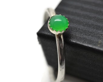 Stackable Chrysoprase Ring, Apple Green Gemstone, Stacking Ring, Chrysoprase Jewelry, Gemstone and Silver