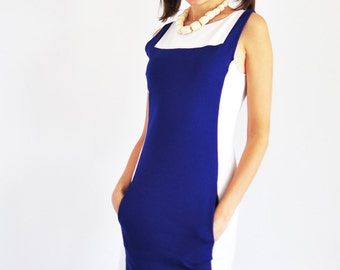 vintage electric blue and white short sleeveless dress / mod elastic dress with pockets