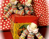 Retro YoYo Clown Jingle Bell Jack Cloth Doll Handmade 1930's reproduction fabric prints Sweet