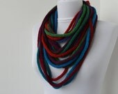 30% OFF SALE - Knit Scarf Necklace - loop scarf - infinity scarf - neck warmer -  knit scarflette - colorful