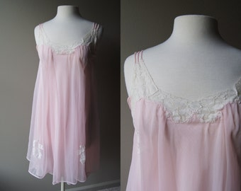 Vintage Pink and Lace Sheer Nightie Pink Lingerie Baby Doll Lingerie Sheer Lingerie Lace Lingerie Pink Nightie Pink Baby Doll Honeymoon