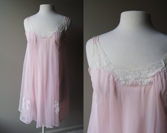 Vintage Pink And Lace Sheer Nightie Pink Lingerie Baby Doll