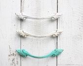 French Provincial Drawer Pull,Upcycled Shabby White,Cream Ivory White,Ocean Teal,Ornate Hardware,Vanity Dresser,Victorian Home,Dainty Petite