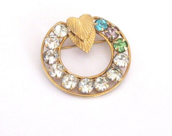 Rhinestone Circle Brooch, Double Hearts, Goldfilled Brooch Mothers Pin Grandmothers Pin