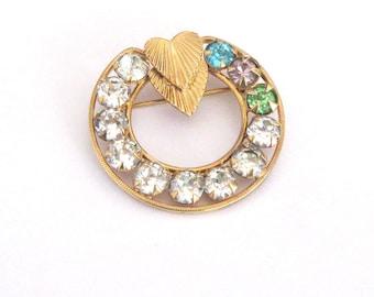 Rhinestone Circle Brooch, Double Hearts, Goldfilled Brooch Mothers Pin Grandmothers Pin, Mothers Day