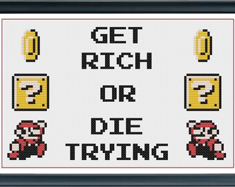 Get Rich or Die Trying - Super Mario Cross Stitch PDF Pattern