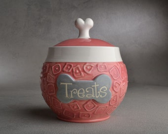 "Dog Treat Jar Made To Order ""Treats"" Pink Squares Treat Jar by Symmetrical Pottery"