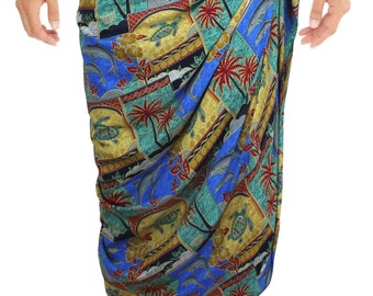 La Leela Tropical Printed Swimwear Beach Swim Wrap Men's Sarong Green-123293