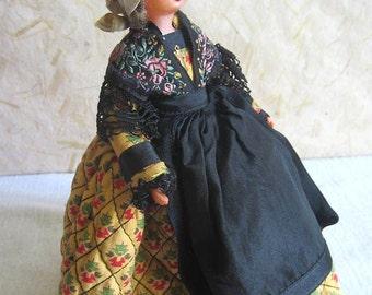 Francese Celluloid Provence costume bambola, bambola folk, vintage, Jany, S.N.F., vintagefr, riviera francese