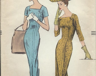 Vintage 1956 Vogue Sewing Pattern 8989 One Piece Dress Size 12