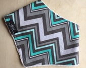 Bandana Bib in Teal & Grey Chevron Cotton, Dribble Bib, Baby
