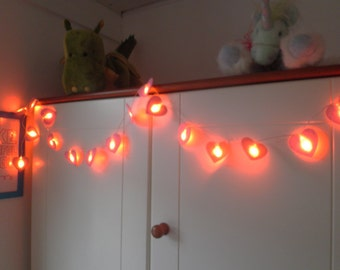 Heart Fairy Light Garland - made with pink wool blend felt, 20 x LED battery lights, perfect for kids room or birthday celebrations.
