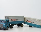 Vintage TC Transcon Lines Tin Friction Truck Tractor w/ 2 Trailers-Japan--FREE SHIPPING