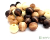 Natural Wood Beads, 30pc, 12mm Round Assorted Wood Beads