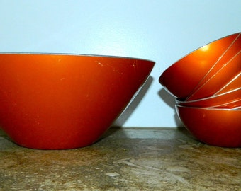 vintage enamel bowls EMALOX salad bowl snack 1960s orange