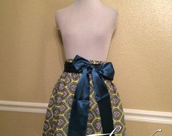 Lime Green Teal Grey Medallion Handmade Elastic Waist Skirt with Teal Satin or your choice Sash Bow - Medium 4 6