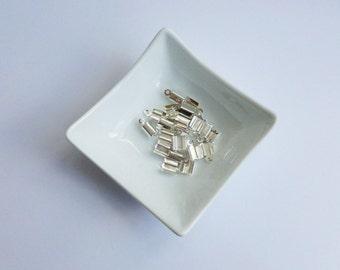 Jewellery Making Destash Rectangle Crod Crimp Cord End Silver Coloured x 20