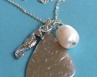 Seahorse, Pearl and Silver Disc Necklace