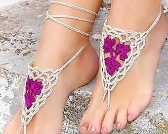 PICK YOUR COLOR. Barefoot sandals, Orchid Cream Barefoot Sandles, Crochet nude shoes, barefoot sandals, sexy, yoga, anklet, beach pool